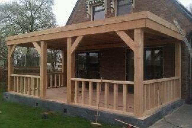 Douglas aanbouw veranda met plat dak for Houten veranda